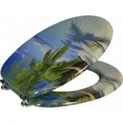 Aqualine FUNNY WC sedátko s potiskom palma, MDF