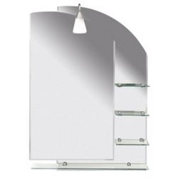 Aqualine WEGA zrkadlo 65x90cm, zaoblené, s policami