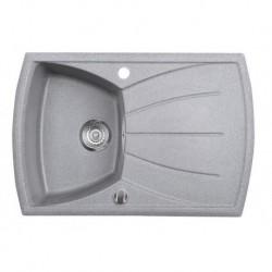 Sapho Granitový zabudovateľný drez s odkvapom 77x51 cm, sivá