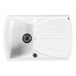 Sapho Granitový zabudovateľný drez s odkvapom 77x51 cm, biela