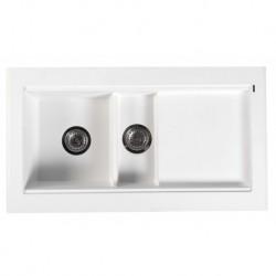 Sapho Granitový zabudovateľný drez s odkvapom a vaničkou 95,8x53,4 cm, biela