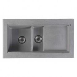 Sapho Granitový zabudovateľný drez s odkvapom a vaničkou 95,8x53,4 cm, sivá