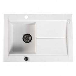 Sapho Granitový zabudovateľný drez s odkvapom 76,5x53,5 cm, biela