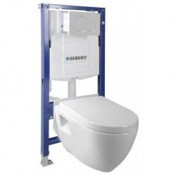 Aqualine WC SADA závesné WC Nera s nádržkou a tlačidlom Geberit, do sadrokartónu