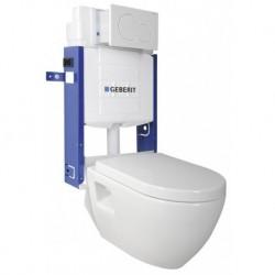 Aqualine WC SADA závesné WC Nera s nádržkou a tlačidlom Geberit, pre zamurovanie